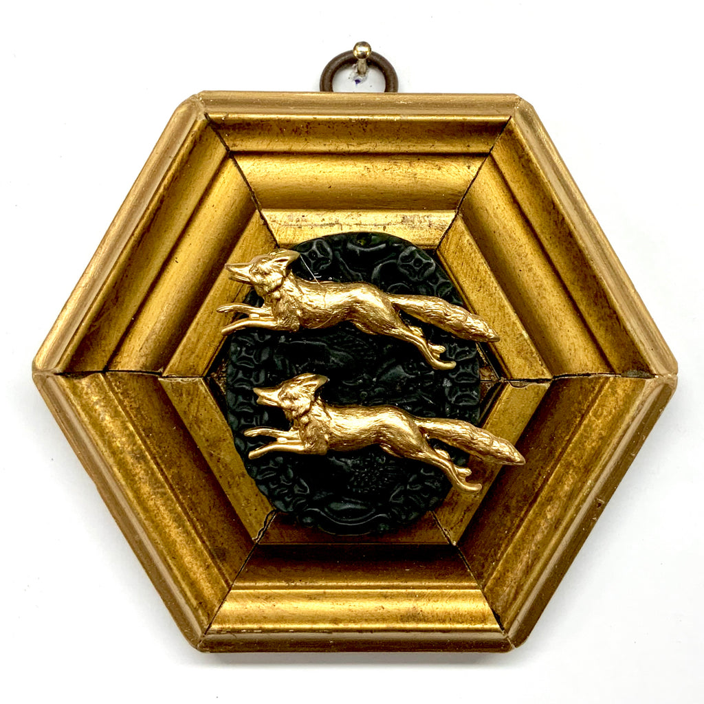 Gilt Frame with Foxes on Jade (4.75