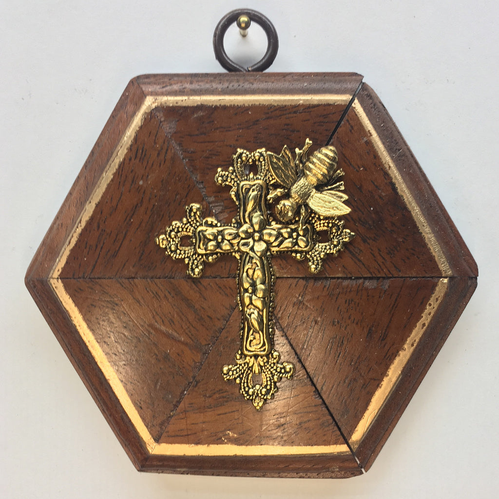 Wooden Frame with Napoleonic Bee on Cross (4