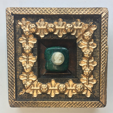 Gilt Floral Frame with Cameo on Lapis (3.25