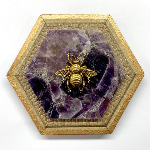 Painted Frame with Grande Bee on Amethyst (5.75