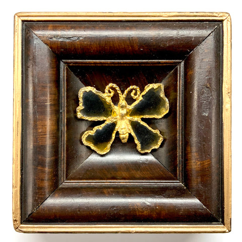 Burled Frame with Butterfly Brooch (5.75
