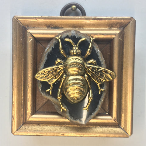 Gilt Frame with Grande Bee on Agate Piece (2.5