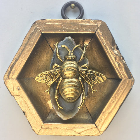 Gilt Frame with Grande Bee on Agate Piece (3