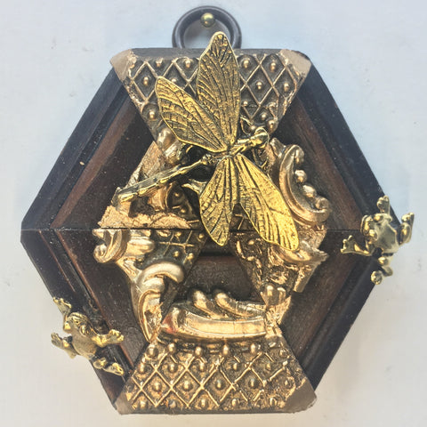 Gilt Wooden Frame with Frogs and Dragonfly (3