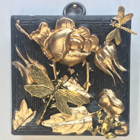 Gilt Floral Frame with Dragonfly and Frogs (2.75