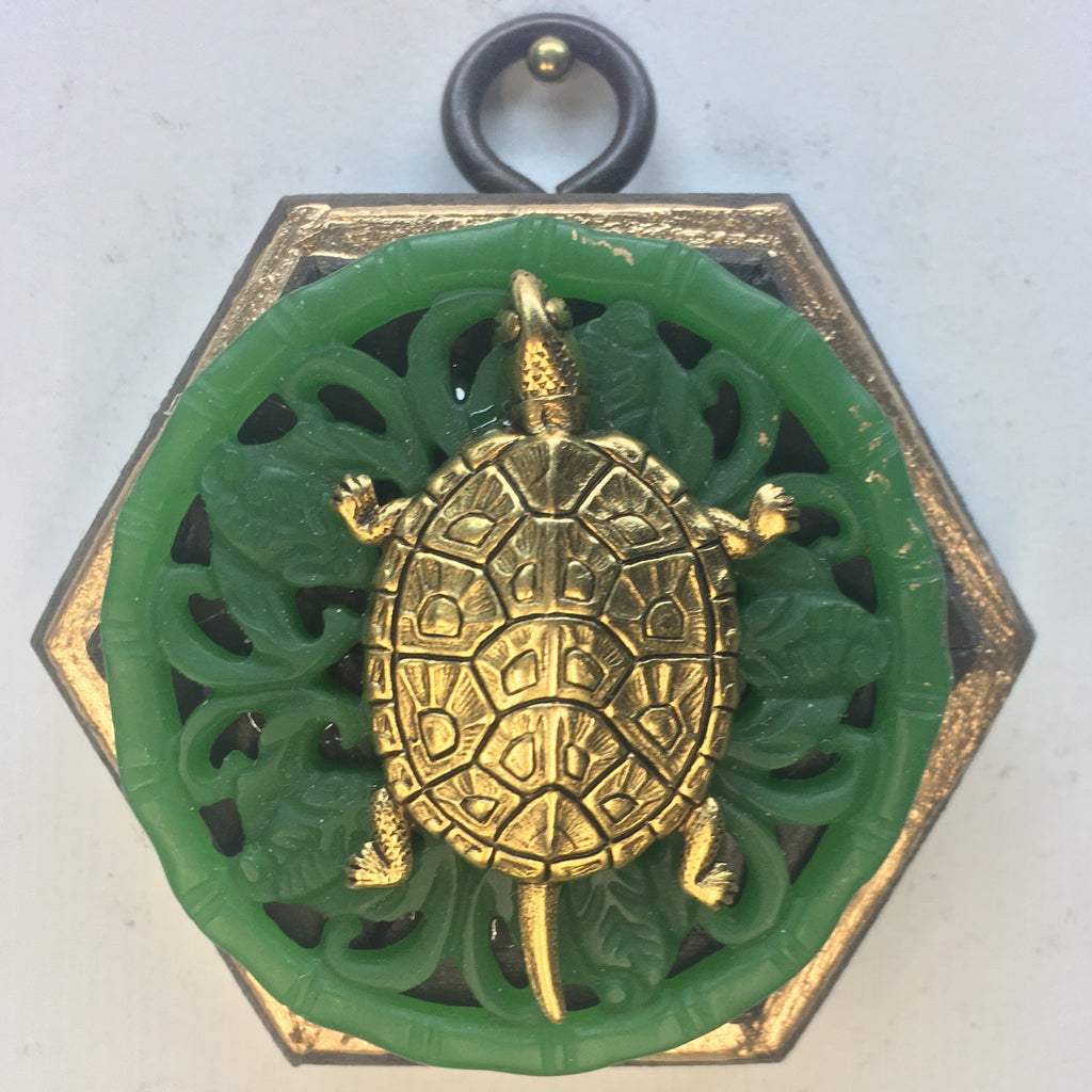 Gilt Frame with Turtle on Jade Piece (2.5