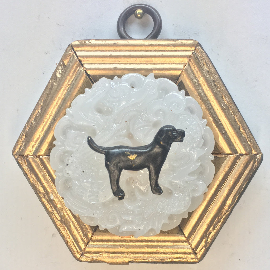 Gilt Frame with Black Labrador on Jade Piece (3