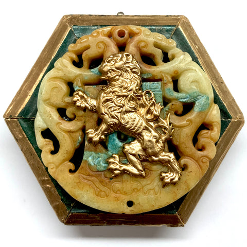 Painted Frame with Lion on Jade (3.75