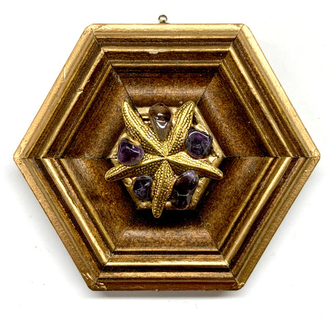 Gilt Frame with Starfish and Amethyst (4.25