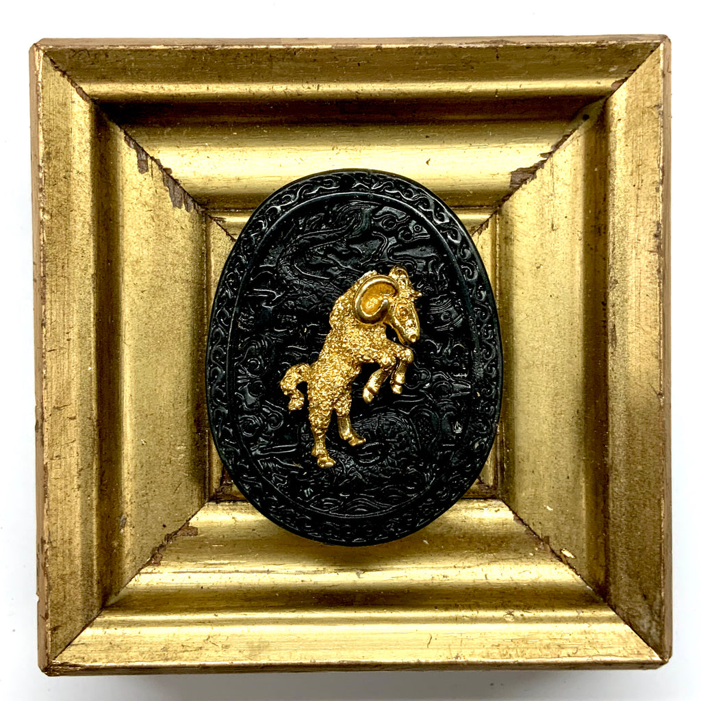 Gilt Frame with Ram on Jade (3.75