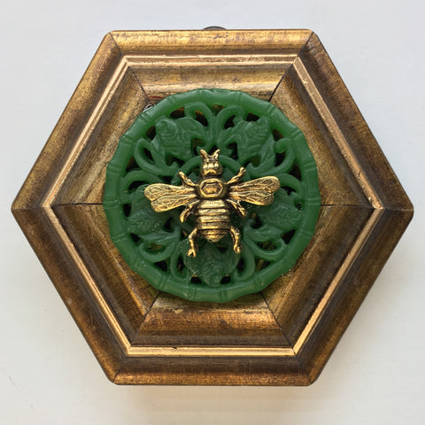 Gilt Frame with Italian Bee on Jade Piece (4.25