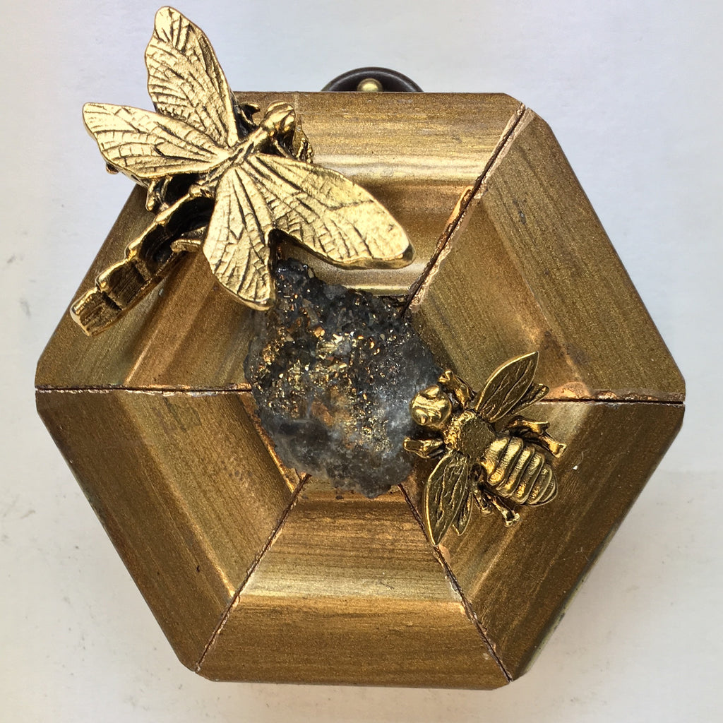 Gilt Frame with Napoleonic Bee and Dragonfly around Pyrite (3