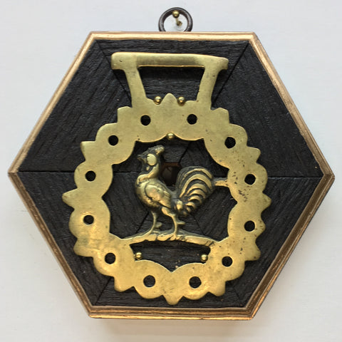 Bourbon Barrel Frame with Rooster Horse Brass (5.25