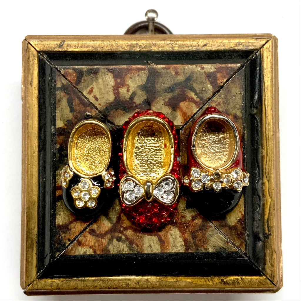 Gilt Frame with Vintage Shoes Brooch (2.25
