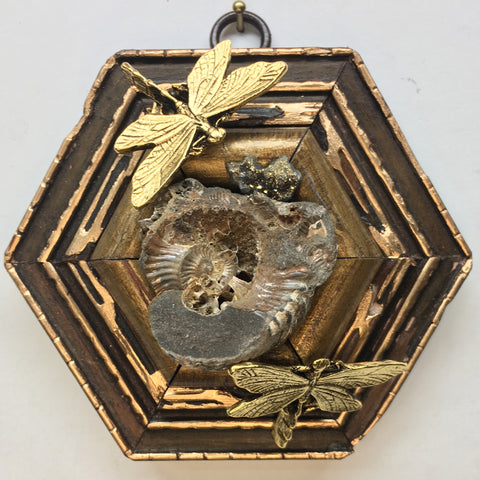 Gilt Frame with Dragonflies around Ammonite Fossil (4.25