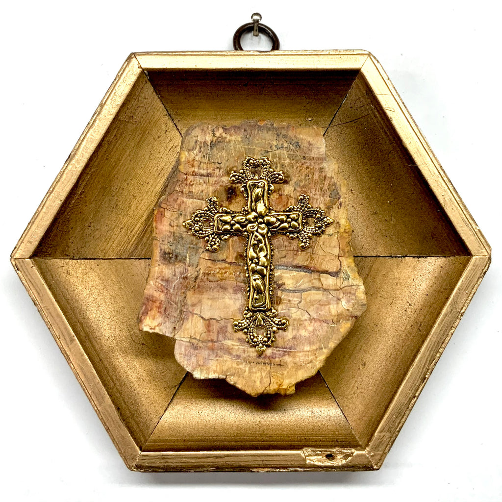 Gilt Frame with Cross on Petrified Wood Piece (5.5