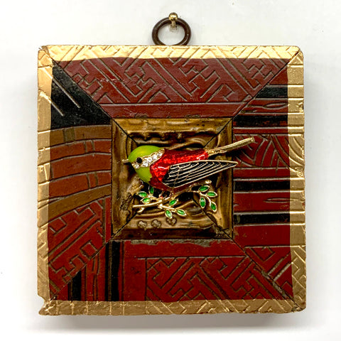 Coromandel Frame with Enameled Bird (3.5