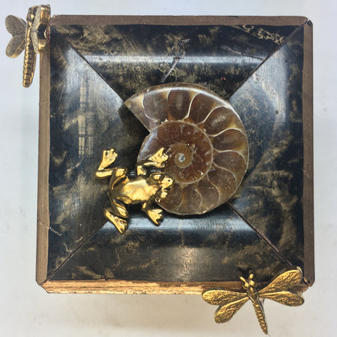 Burled Frame with Frog and Dragonflies around Ammonite Fossil (2.5
