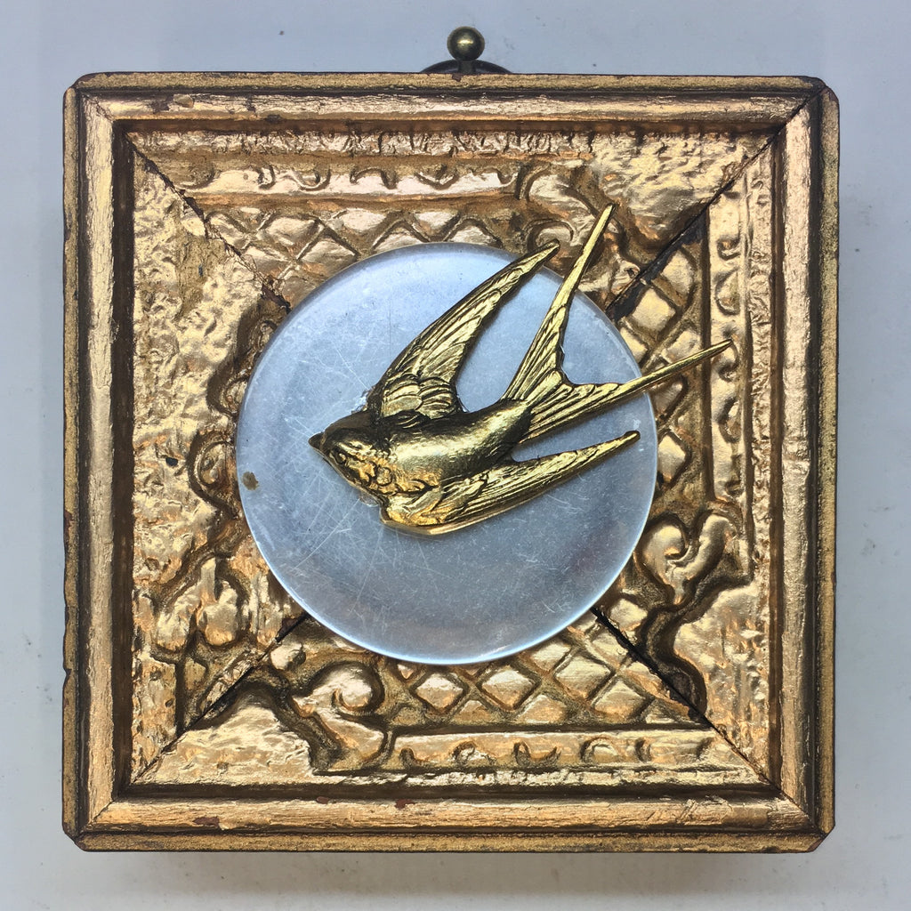 Gilt Frame with Swallow on Abalone Coin (2.5