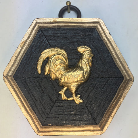 Small Bourbon Barrel Frame with Rooster (3-3.5