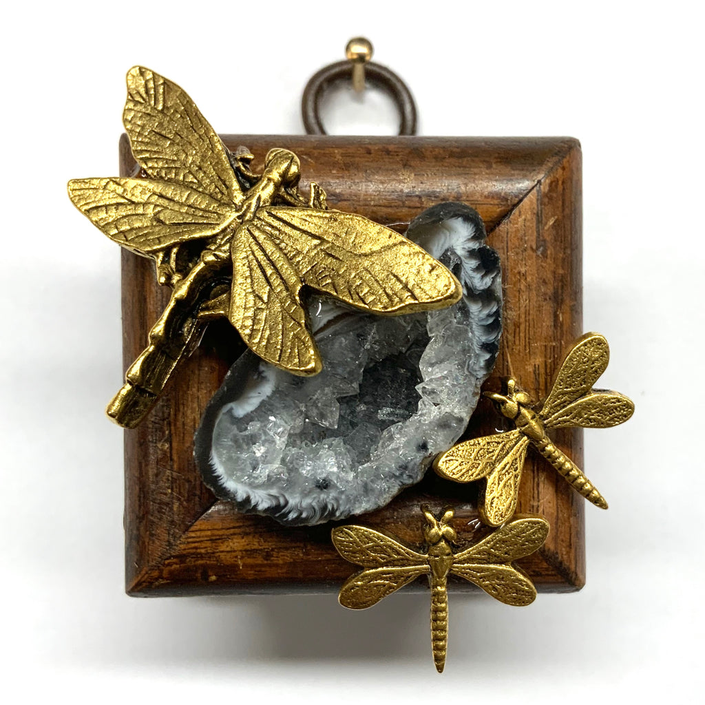 Wooden Frame with Dragonflies on Geode (1.75