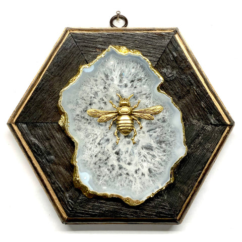 Bourbon Barrel Frame with Italian Bee on Agate (7