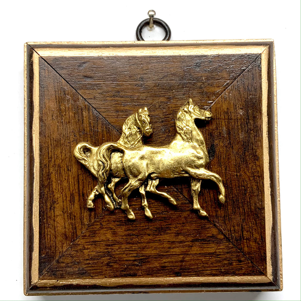 Wooden Frame with Horses (4