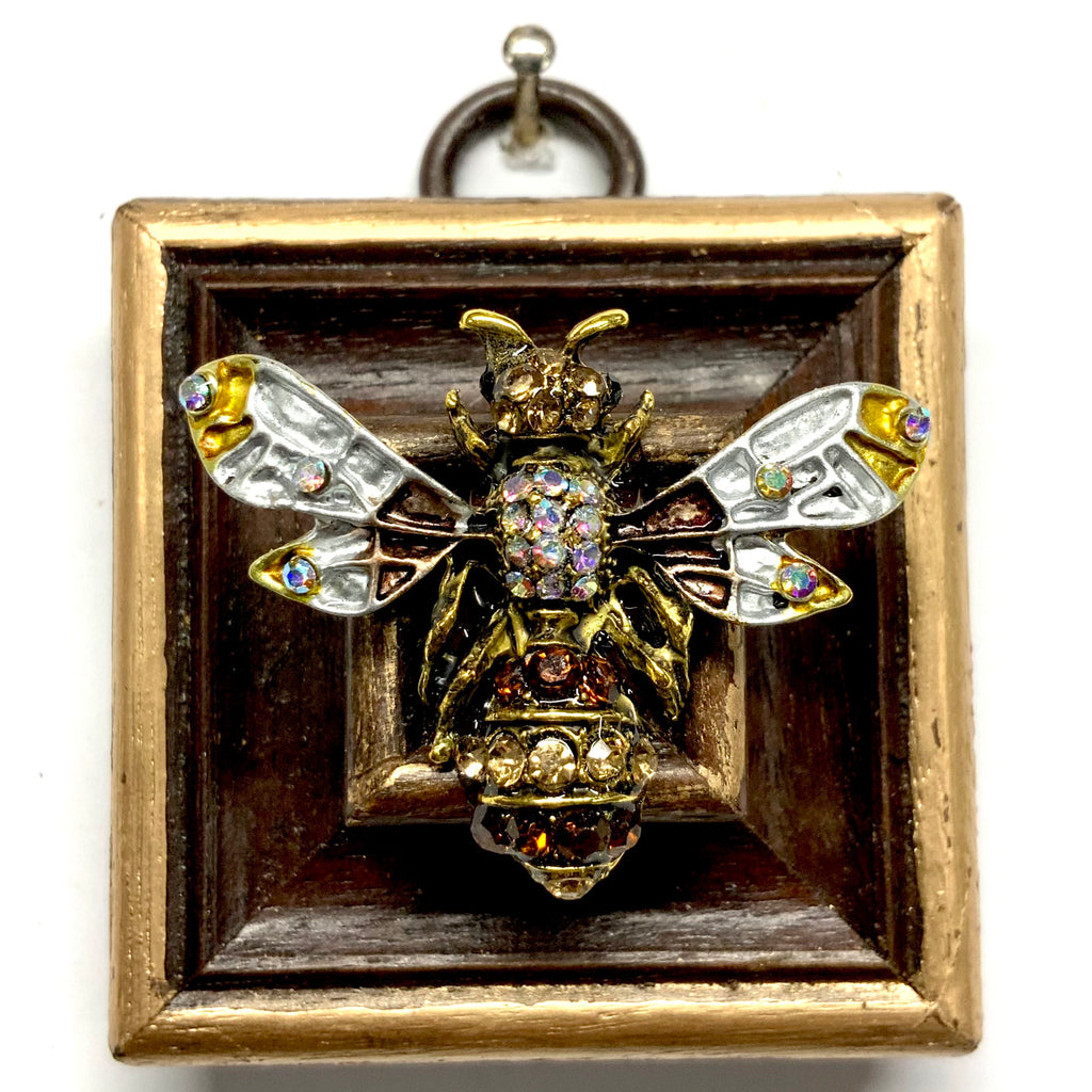 Wooden Frame with Enameled Bee (2