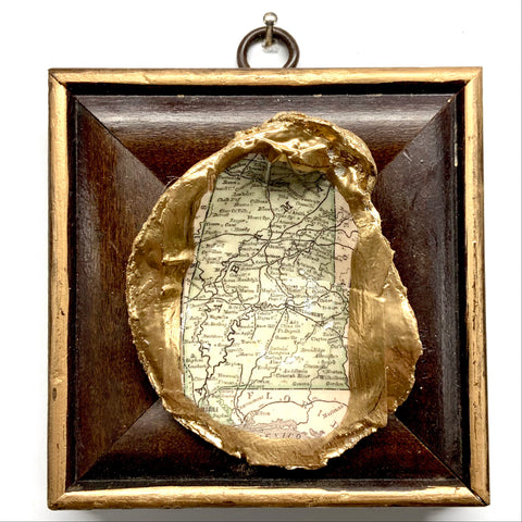 Wooden Frame with Map Oyster Shell (3.75