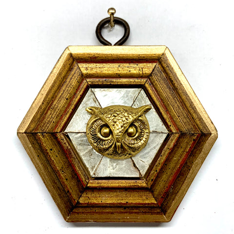 Gilt Frame with Owl on Mother of Pearl (3.25