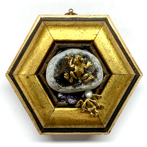 Gilt Frame with Frogs on Stone (3.75