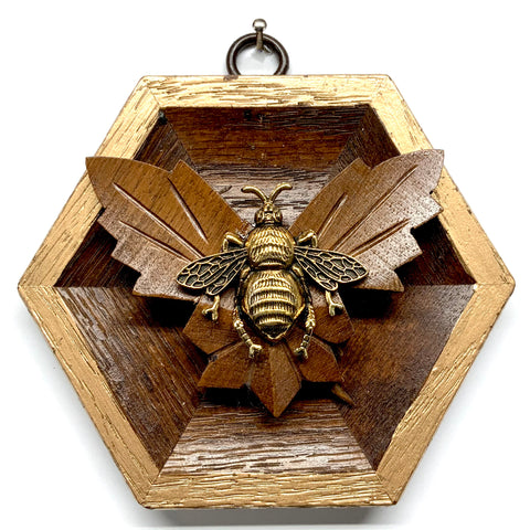 Wooden Frame with Grande Bee on Wood Carving (4.25