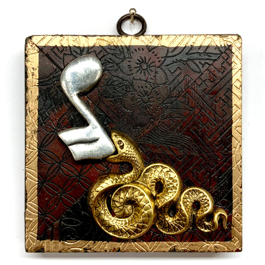 Coromandel Frame with Snake and Musical Note Brooch (4