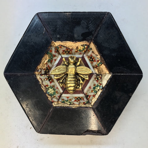 Lacquered Micro Mosaic Frame with Napoleonic Bee (2.75