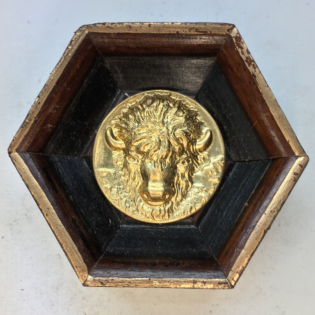 Wooden Frame with Bison Coin (2.5