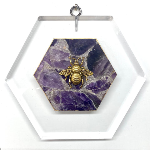 Lucite Frame with Grande Bee on Amethyst (7