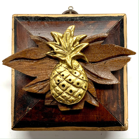 Burled Frame with Pineapple on Wood Carving (2.75