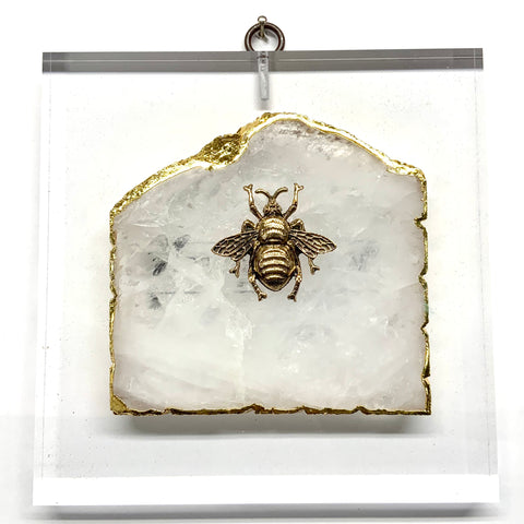 Lucite Acrylic Block with Grande Bee on Agate (6