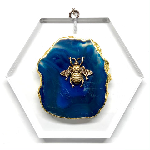 Lucite Acrylic Block with Grande Bee on Agate (7