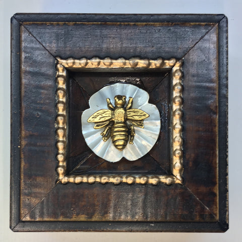 Wooden Frame with Napoleonic Bee on Stone (3