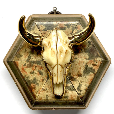 Marbled Frame with Cow Skull (3.25