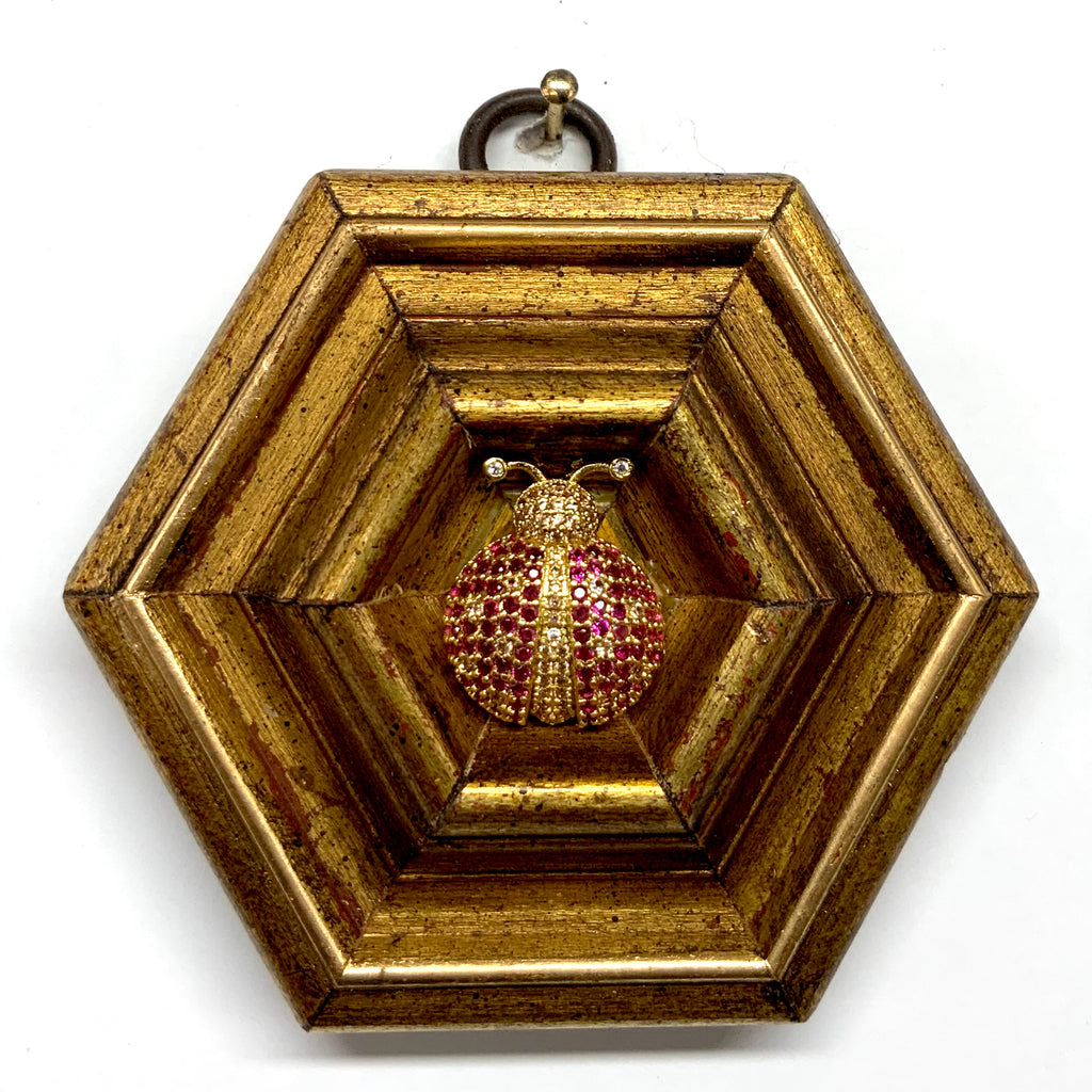 Gilt Frame with Sparkle Ladybug (3.25