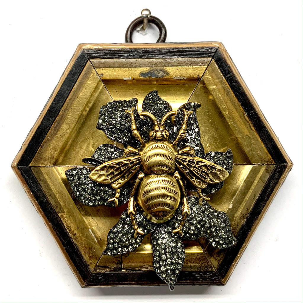 Painted Frame with Grande Bee on Brooch (3.75