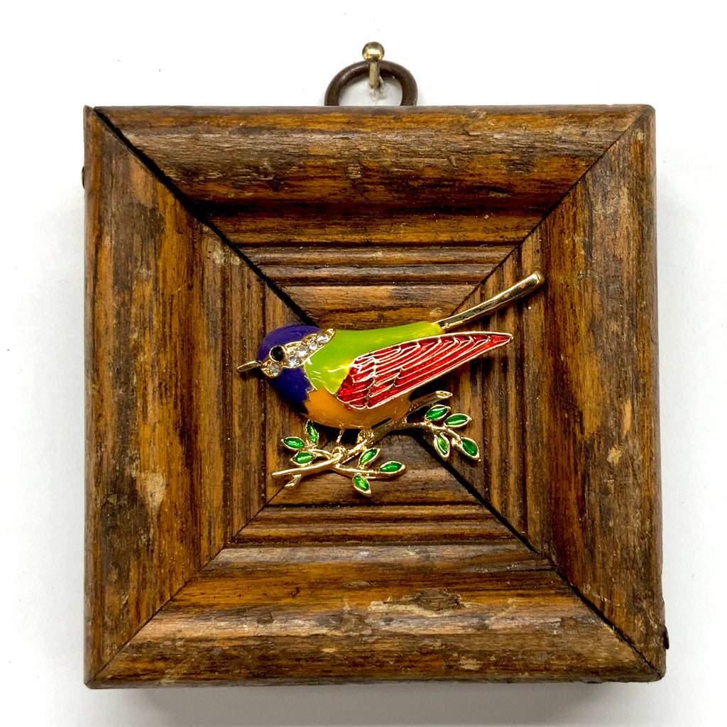 Wooden Frame with Enameled Bird (3.25
