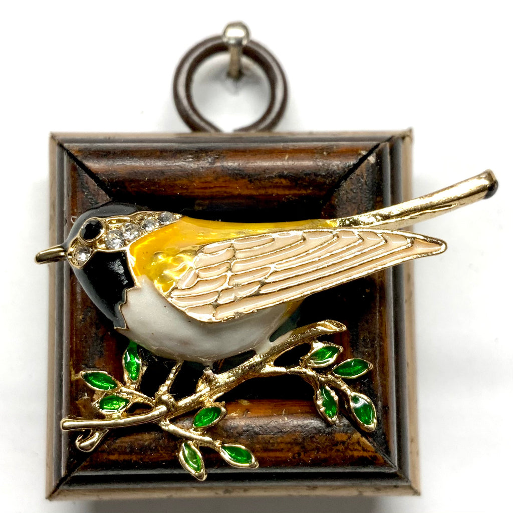 Wooden Frame with Enameled Bird (1.75