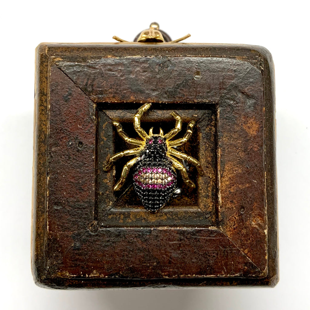 Wooden Frame with Sparkle Spider and Fly (2.5