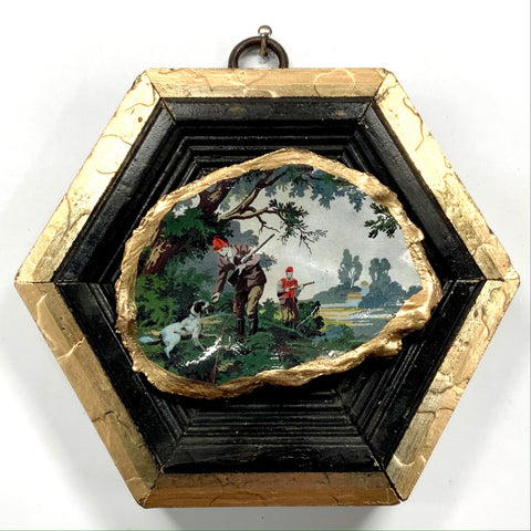 Painted Frame with Hunting Scene Oyster Shell (4.25