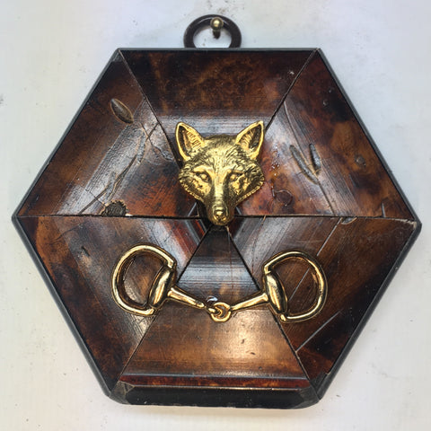 Burled Frame with Fox and Snaffle Bit (3.75