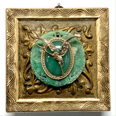 Gilt Frame with Crane and Brooch on Jade (5