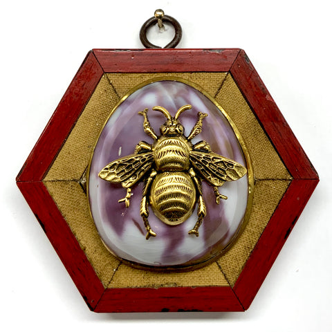 Lacquered Frame with Grande Bee on Shell (3.75
